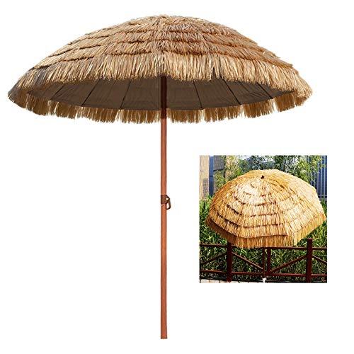 YYQ SHOP Hawaii-Stil Stroh Sonnenschirm Gartenschirm Bastschirm Rund ø145cm Knickbar Sonnenschutz UV50+ Neigbar Marktschirm Gastroschirm Strandschirm,Natur