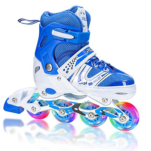 XRZT Adjustable Inline Skates for Kids and Adults with Full Light Up Wheels, Outdoor Blades Roller Skates for Girls and Boys, Men and Women,Medium Size(US 2-5) Blue …