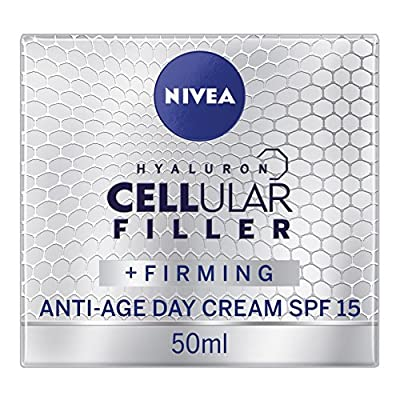 NIVEA Hyaluron Cellular Filler Anti-Age Day Cream SPF 15, Anti Ageing Cream with Hyaluronic Acid and Magnolia Extract, Moisturising Wrinkle Reducer and Skin Firmer, 50 ml