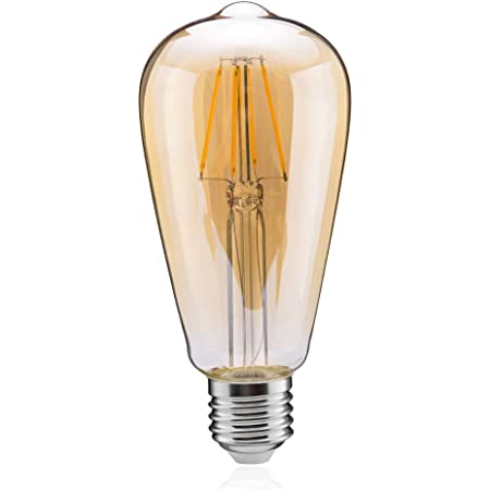 Tengyuan LEDエジソン電球 60W形 フィラメント電球 エジソンランプ LED電球 E26 8W 電球色 850lm ST64 アンバーガラス (8W金色 1個入り)