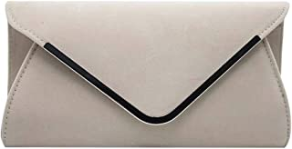 Wiwsi Ladies Faux Suede Clutch Purse Satin Wedding Evening Handbag Shoulder Bag