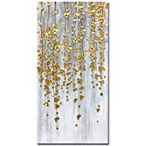 Yotree Paintings, 24x48 Inch Paintings Oil Hand Painting Silver-gold Flowers Paintings 3D Hand-Painted On Canvas Abstract Artwork Art Wood Inside Framed Hanging Wall Decoration Abstract Painting