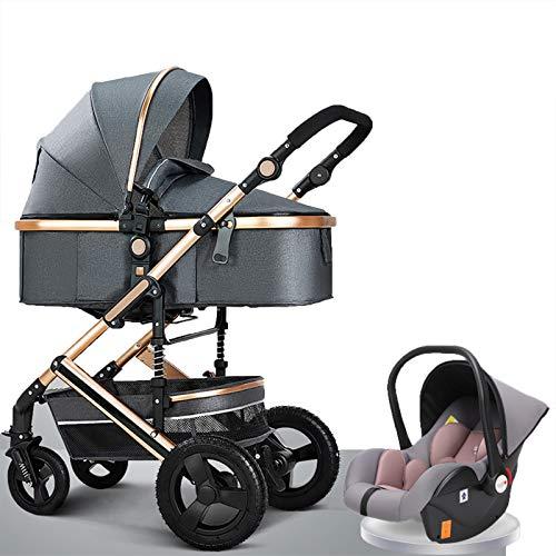 Cochecitos de paseo 3 en 1, plegables de alto paisaje y antigolpes para recién nacidos, cochecitos de lujo de paisaje alto con cesta de altura ajustable y cubierta completa toldo grande (color gris)