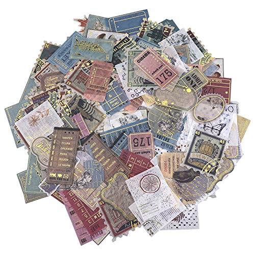 200 Pcs Pegatinas de Sello Autoadhesivas Pegatinas Scrapbooking Vintage Adhesivos DIY Decoración Stickers para DIY Manualidades Scrapbooking Álbumes de Recortes Decoración