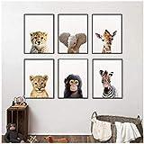 Dayanzai Lion Zèbre Éléphant Girafe Bébé Animaux Art Affiche Affiche, Safari Animaux Image Toile Peinture Enfants Chambre Nursery Mur Décor 21X30Cmx6Pcs Sans Cadre