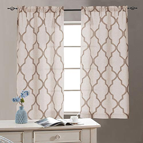 jinchan Linen Kitchen Tiers 45 Length Moroccan Print Geometry Privacy Half Window Curtains for Bathroom 1 Pair 26' W x 45' L Taupe