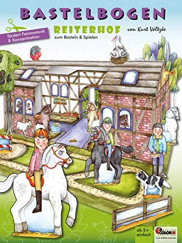 Reiterhof Bastelbogen: 3d bespielbarer Reiterhof mit Pferden zum Ausschneiden und Basteln aus Papier für Kinder