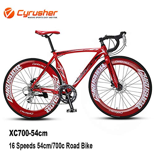 Cyrusher XC700Rennrad Herren, 14Gänge, 56cm, 700C, mit mechanischen Scheibenbremsen und Gabelfederung, Herren, rot
