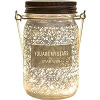 Umora願いボトル LEDライト 星空 置物 装飾ランプ ガラス 電池式 ギフト バレンタインデー 記念日 誕生日 ウォームライト(スムーズ 星)