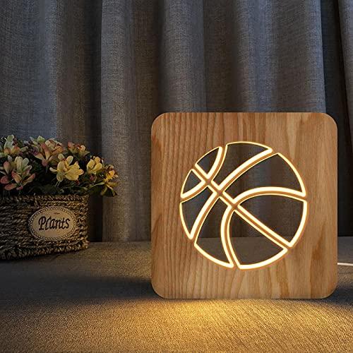 Luz De Noche Madera Led Basketbal Luz De Noche 3D Ilusión Luminary Lámpara Usb Regalos Creativos De Cumpleaños Decoración De Cabecera Para El Hogar Bebé