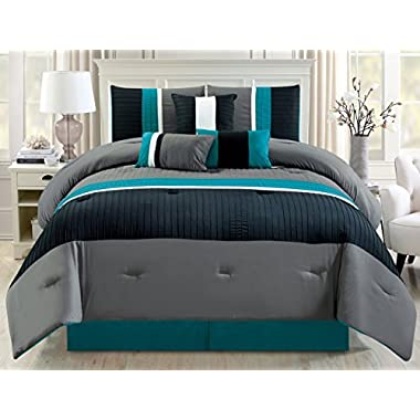 Modern 7 Piece Oversize Teal Blue / Grey / Black Pin Tuck Stripe Comforter Set King Size Bedding with Accent Pillows 104 X94