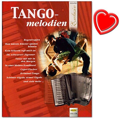 Tangomelodien für Akkordeon - wohlklingende Bearbeitungen im mittelschweren Bereich erfreuen jeden Spieler - Akkordeonnoten mit bunter herzförmiger Notenklammer
