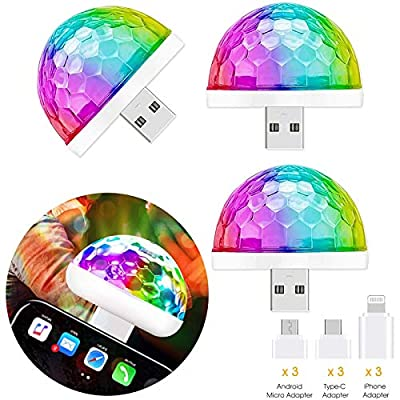 USB Disco Light Party Lights, 3 Packs,Christmas Decorations Party DJ Lights, Sound Activated Strobe Light, Disco Ball Light for Party Kids' Birthday Home Bedroom, Halloween Christmas Gift Disco Bal