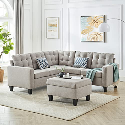 GOOD & GRACIOUS Large Sectional Sofa Set Living Room Corner Sofa L-Shaped Couch with Modern Polyester Fabric Storage Ottoman and 2 Pillows Taupe