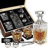 Whiskey Decanter Set Whiskey Stones Gift Set for Men Whisky Glasses in Gifts Box 2 Reusable Stainless Steel Whisky Ball 2 Crystal Whisky Glass 1 Whiskey Decanter for Men Lovers Boyfriend Dads