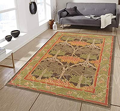 Allen Home Wool Rug 2.5'X9' 3'X5' 5'X8' 8'x10' 9'X12' Mariya Green Tufted William Morris Art and Crafts Persian Traditional Wool Rug Carpet from Allen Home