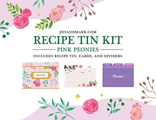 Jot & Mark Recipe Card Complete Gift Box | Decorative Tin Box, Recipe Cards, Index Dividers (14 dividers, 50 4x6 inch Cards, 1 Box)