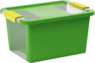 Kis 8452000 0117 01 Boîte de rangement Bi Box 11 litres en vert-transparent, 36.5x26x19 cm