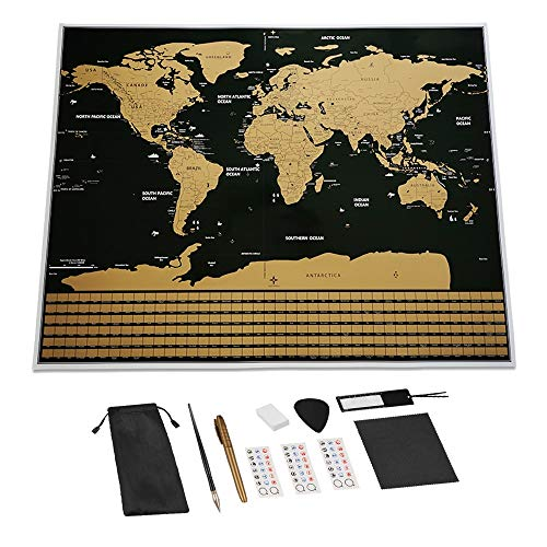 BLOUR Scratch Off Weltreisekarte Große Größe Premium personalisierte Wandaufkleber Poster Alle Länderflaggen Geschenkpaket für Reisende