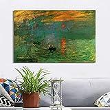 Claude Monet Impresiones Sunrise Cartel e impresiones en lienzo Pinturas de arte de la pared Pinturas famosas clásicas para la decoración de la sala de estar45x30cm