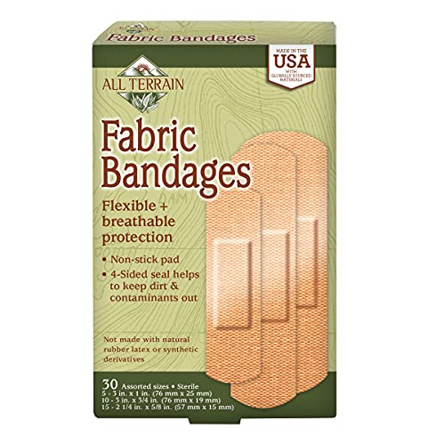 All Terrain Fabric Bandages, Latex-Free Flexible Protection, 30 Count, Assorted Sizes, Sterile