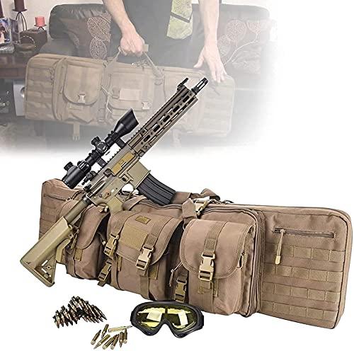 Caja de rifle doble, caja de rifle táctico con protección flexible suave, tela de Oxford 600D, pistola de rifle de aire suave para llevar, bolsa de pistola portátil para pescar, caza, deporte de tiro