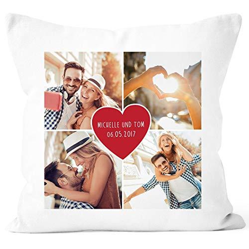 MoonWorks® Fotokissen Kissen-Bezug mit Herz und Fotocollage zum selbst gestalten 4 Fotos Namen und Datum anpassbar Collage Herz weiß Unisize