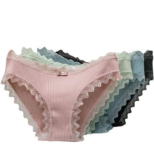Dasongff Damen Hipster Spitze Baumwoll-Jersey Slips Panties Ultra Soft Unterhose Unterwäsche im 4er-Pack
