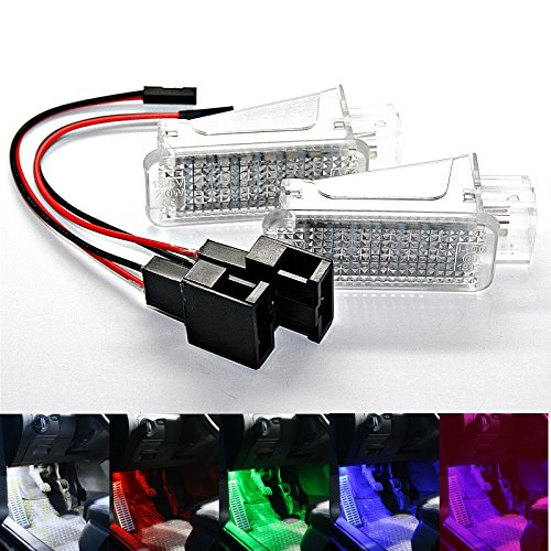 2X LED Module Fußraumbeleuchtung - weiß blau lila grün rot SMD Modul Fußraum Set (weiß)