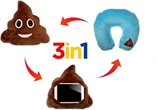 Retro Emoji Smiley Emoticon Round Cushion Pillow Stuffed Cute Plush Soft Toy Doll Money Mouth Cat Pink Poop Angel Heart Eye Kissy Face Tongue Laugh to Tear Car Home Office (IU POOP)