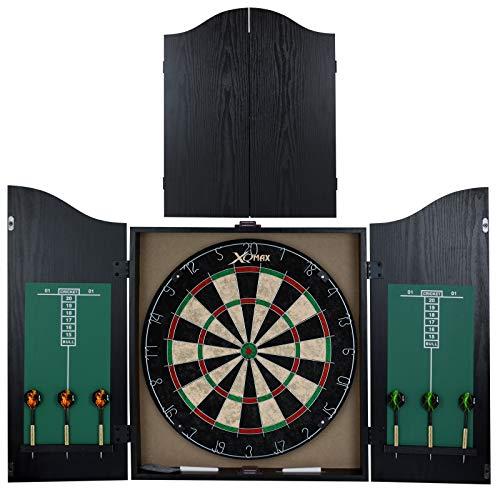 TW24 Dartschrank Holz schwarz Dartboard Steeldartscheibe Darts Steeldart Set Dartscheibe im Kabinett