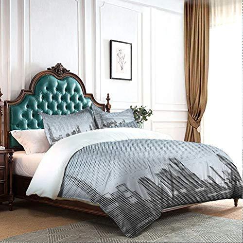 DRAGON VINES Juego de 4 fundas de almohada de 4 series de ropa de cama con diseño de ciudad con efectos de arte futuristas e ilustración genérica para niños y niñas, azul bebé, negro W68 xL90
