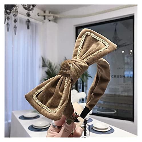 LANMEISM Sombreros Lateral Ancho Diadema Mujeres Gran Arco Nudo Cabeza Cabeza Suave Calidad de Pelo Adulto Accesorios para el Cabello (Color : Khaki Hairband)