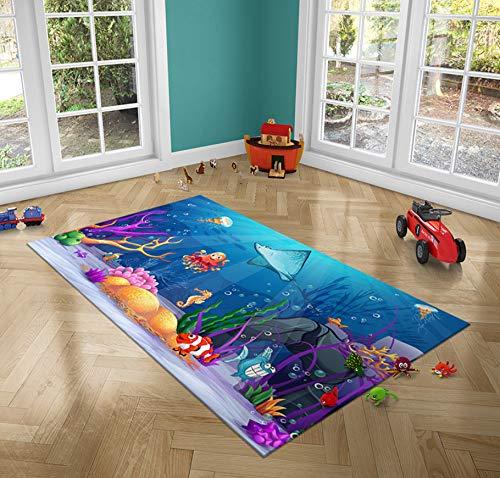 Kinderteppich, Cartoon Unterwasserwelt Octopus Coral Fish Carpet, Langlebiger Polyester Boy Baby Große Palymatte 140cmx200cm