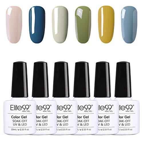 Elite99 Smalto Semipermanente Smalto per Unghie in Gel UV LED Gel per Unghie 6pcs Kit Set per Manicure e Pedicure Semipermanente Soakoff 10ml - C002