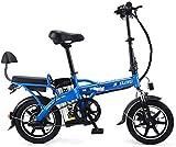 WCY 14 Pulgadas Plegable Bicicleta eléctrica, la batería eléctrica de la Bicicleta de Aluminio Ligero de Litio 48v 350w móvil Ebike 2 E Rueda de Bicicleta QU526 (Color: Blanco) yqaae (Color : Blue)