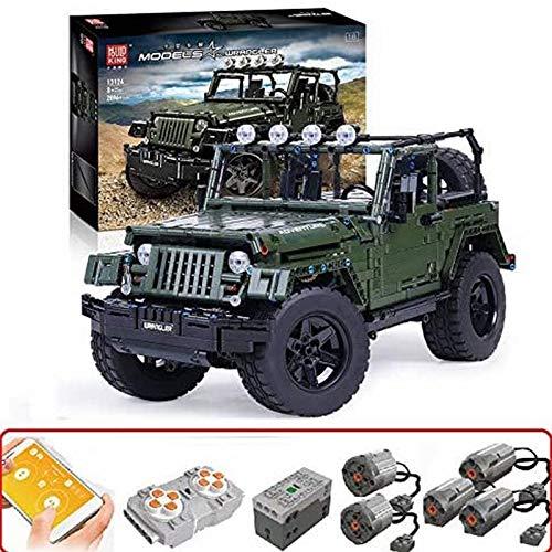 Technology Kit de Bloques de Construcción para Vehículos Todoterreno para Jeep Wrangler, Technic 4X4 Todoterreno con Control Remoto y Motor, 2000 Bloques de Terminales Compatibles con Lego Technic