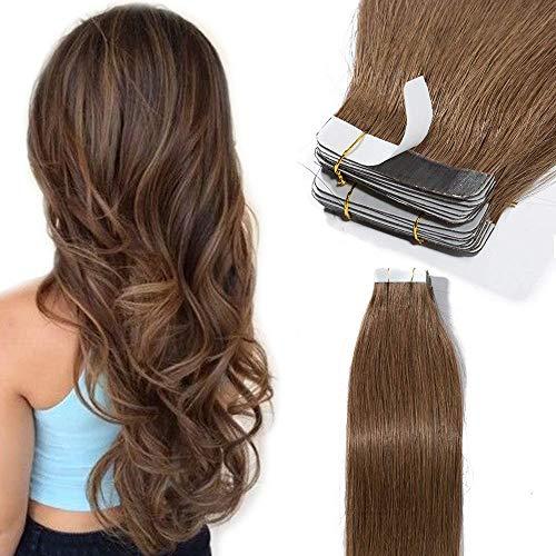 Elailite Extension Adesive Capelli Veri Biadesive 40 Ciocche con Biadesivo 100g Tape Extensions Remy Human Hair Naturali (40cm #6 Castano Chiaro)