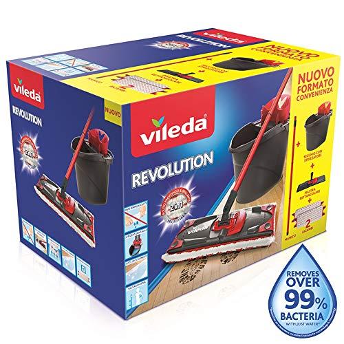 Vileda 158575 Box System Mop, spel met STRIZCATORE, dobbelstenen, plaat rechthoekig en 2 doeken Revolution 2 in 1, andere, meerkleurig, 0,1 x 0,1 x 0,1 cm