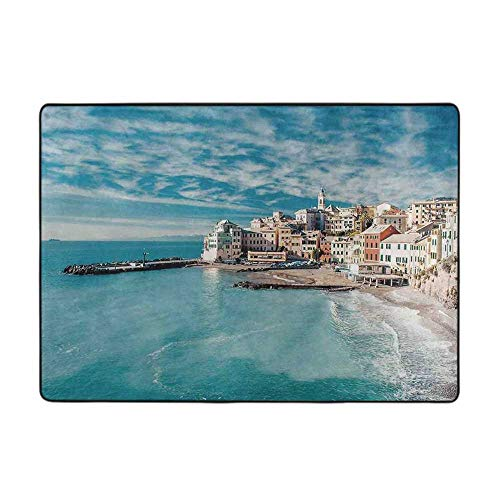 Outdoor Floor Mats Farm House Decor Panorama of Old Italian Fish Village Beach 63' x 48' Bathroom mats and Rugs