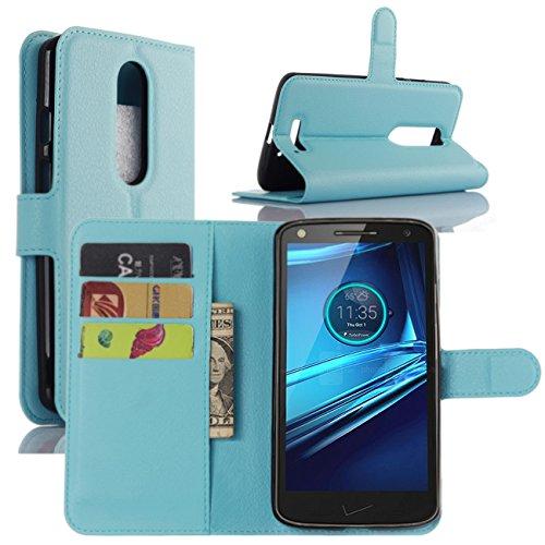HualuBro Moto X Force Hülle, [All Aro& Schutz] Premium PU Leder Leather Wallet HandyHülle Tasche Schutzhülle Flip Hülle Cover für Motorola Moto X Force Smartphone (Blau)