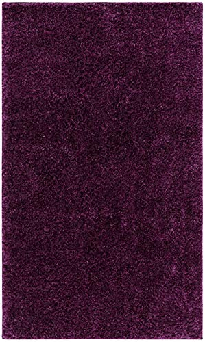 SAFAVIEH August Shag Collection AUG900W Solid Non-Shedding Living Room Bedroom Dining Room Entryway Plush 1.2-inch Thick Accent Rug, 2'3