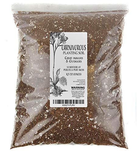 Carnivorous Plant Soil Mix, 1 Quart Re-Pot 1-2 Small Plants Size Bag, All Natural Ingredients, Great Soil for Venus Fly Traps, Sundews, and Pitcher Plants (1qt)