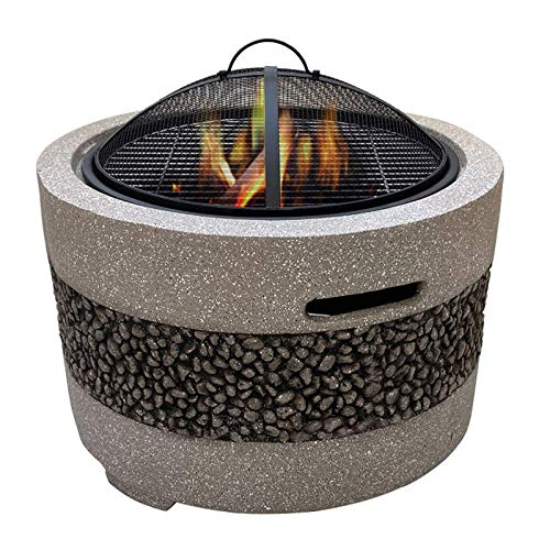 DFKDGL Fire Pits Bowls, for Garden Bbq Large Wood Burning with Grill And Lid, Stone Table, Cast Iron, Outdoor Firepit for Log Burning, 3 in 1, for outside Patio, Mat for Decking, Lava Rocks,Gray fi