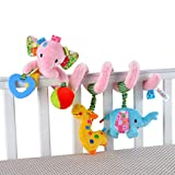 Amazemarket Baby Kinderwagen Krippe Spiral Wickeln Um Hängend Aktivität Spielzeug Niedlich Ausgestopft Tier Kleinkind Früh Lehrreich (D)