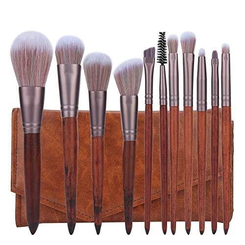 Qkiss Brosse De Fibre Artificielle Cheveux Poignée En Bois Brosses De Maquillage Du Visage Avec Sac 11 pcs