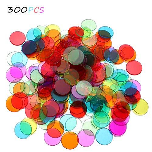 Bingo-Chips, 300 Stück Chips Zum Zählen, 6 Transparente Farben, Klare Kunststoff-Zählmarker, Chips Casino Bingo-Markierungen, Farbiger Zählchipund Mathe-Spielzeug Brettspiel
