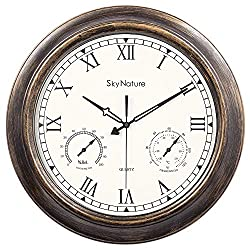 Waterproof Outdoor Clock, 18 Inch Large Outdoor Clocks with Thermometer & Hygrometer Combo, Silent Battery Operated Metal Wall Clock for Living Room, Patio, Garden, Pool Decor - Bronze