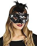 Horror-Shop Schwarze Pailletten-Maske mit Rabenfedern