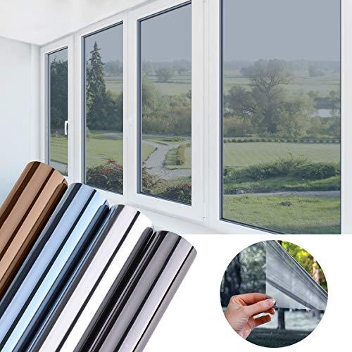 KINLO 75x300cm verspiegelte Folie Sonnenschutz selbstklebend Fensterfolie Sichtschutz und Hitzeschutz Sichtschutzfolie Spiegelfolie für Fenster Silber-Blau